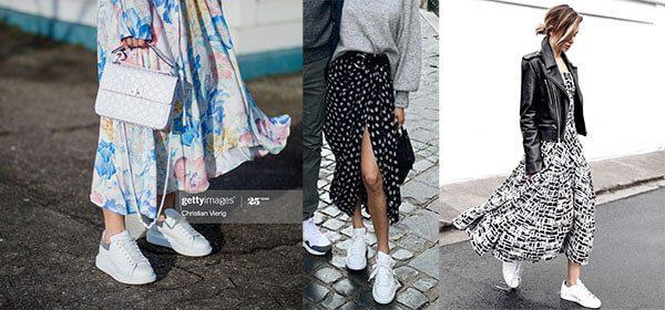 Giày mcqueen phối đồ nữ với váy hoa hoặc chấm bi