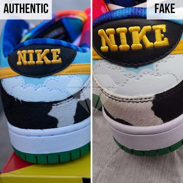 """giày fake họa tiết trong tab """"NIKE"""" hoàn toàn khác so với đôi giày chính hãng"""