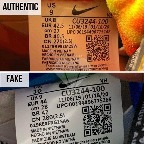 phông chữ của văn bản trên nhãn kích thước chính hãng mỏng hơn so với bản nhái