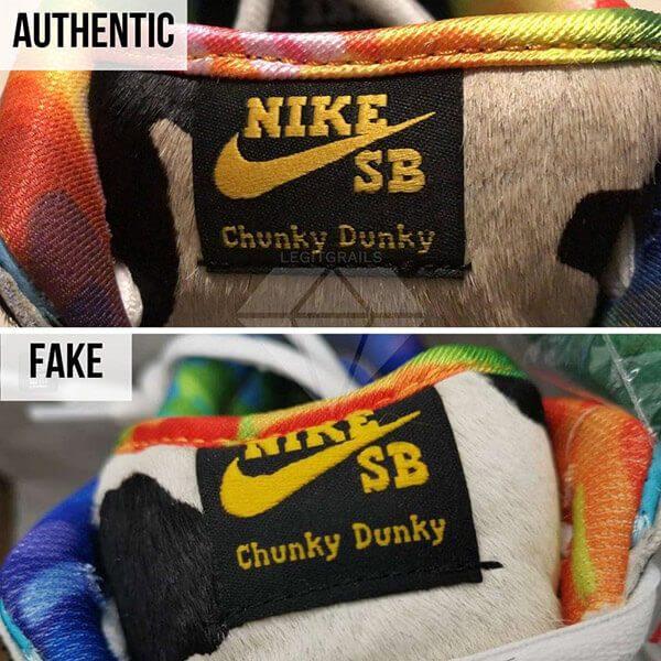 Font chữ, khoảng cách chữ trên lưỡi gà của đôi real và fake