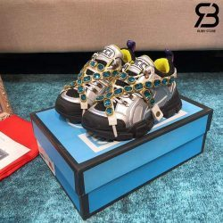 Giày Gucci Flashtrek Crystal-Embellished Metallic sneakers