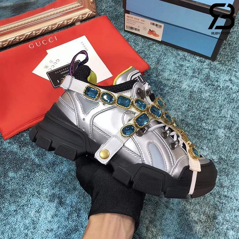 Giày Gucci Flashtrek Crystal-Embellished Metallic sneakers