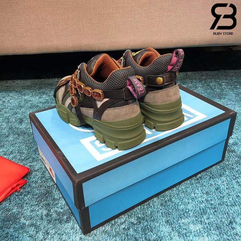 Giày Gucci Flashtrek Sneaker With Crystals In Black Green siêu cấp