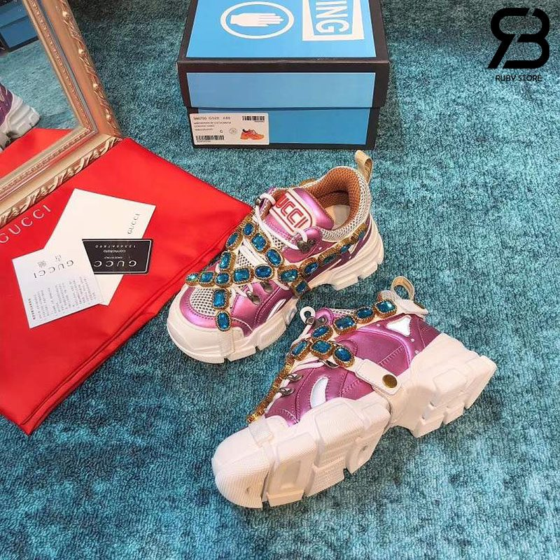 Giày Gucci Flashtrek Sneaker With Crystals In Pink White siêu cấp
