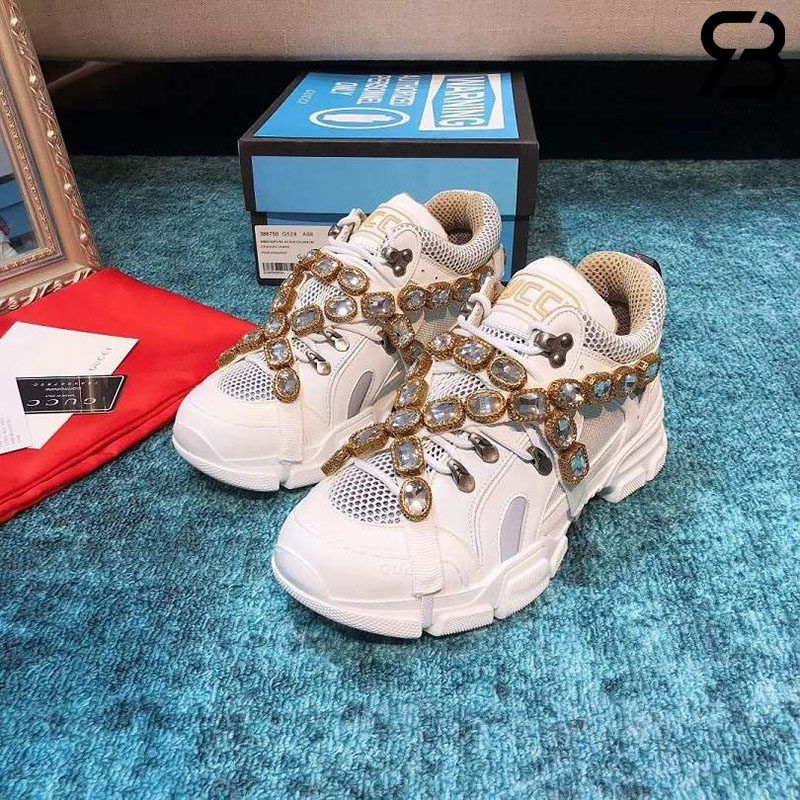 Giày Gucci Flashtrek Sneaker With Crystals In White siêu cấp