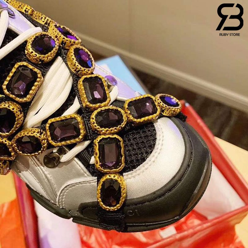 Giày Gucci Flashtrek Sneaker With Crystals In Yellow Silver siêu cấp