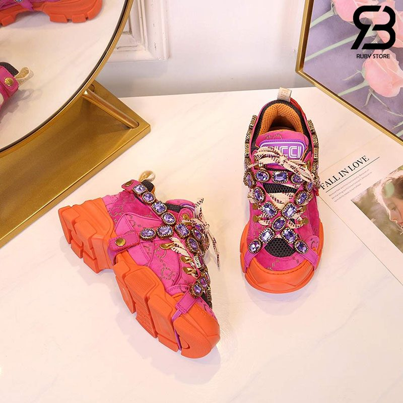 Giày Gucci Flashtrek Sneaker With Crystals In Pink Orange siêu cấp
