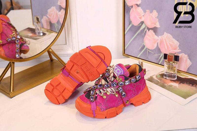 Giày Gucci Flashtrek Sneaker With Crystals In Pink Orange siêu cấp