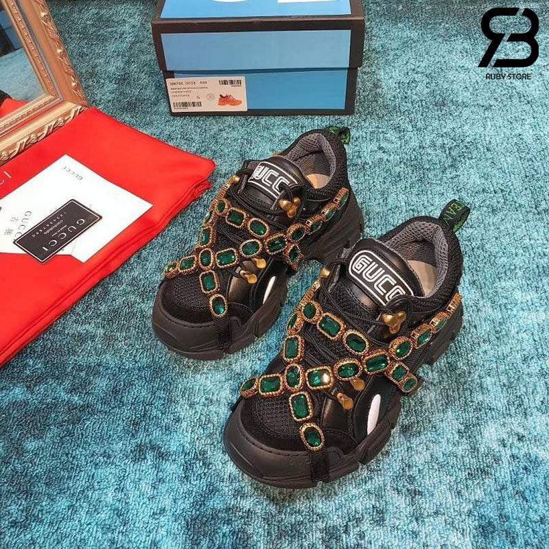Giày Gucci Flashtrek sneakers with Crystals Black Siêu Cấp