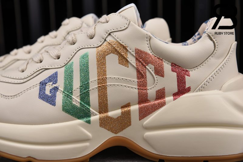 Giày Gucci Rhyton Glitter Logo Leather Sneakers Best Quality