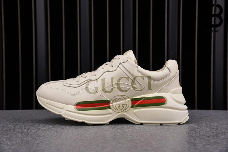 Giày Gucci Rhyton Logo Leather White Best Quality