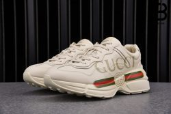 Giày Gucci Rhyton Logo Leather White Best Quality