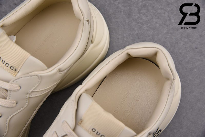 Giày Ivory Leather Rhyton Gucci Square Logo Sneaker Best Quality