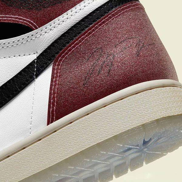 Chữ ký của Jordan trên đôi giày collab Trophy Room