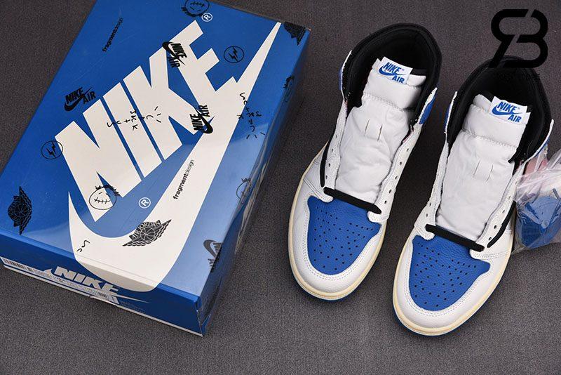 Giày Jordan 1 Retro High OG SP Travis Scott Fragment Military Blue Siêu Cấp