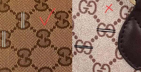 Họa tiết trên túi Gucci real và fake