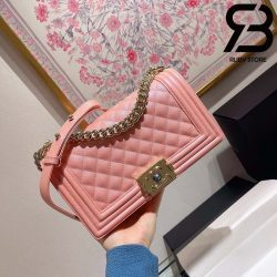 Túi Chanel Boy Màu Hồng 25cm Best Quality Like Auth 99%