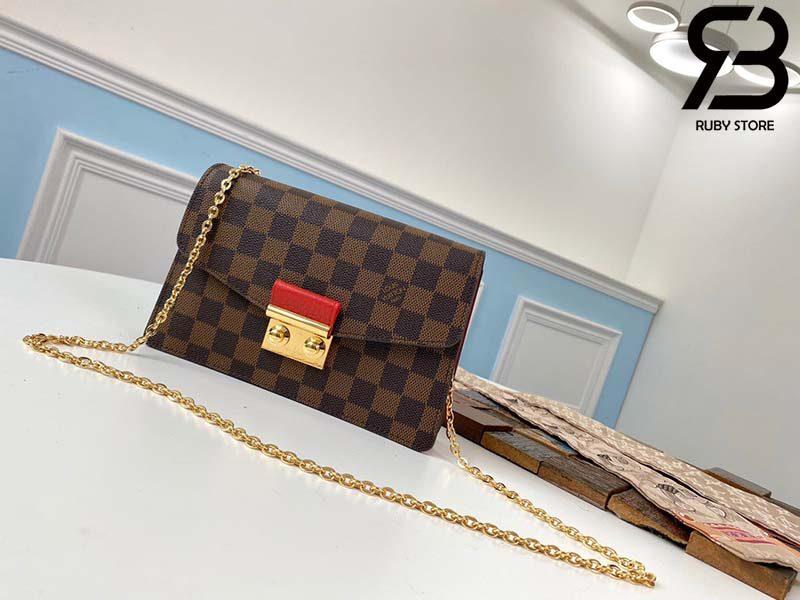 Túi LV Croisette Chain Wallet Damier Ebene Canvas Best Quality 99% Auth