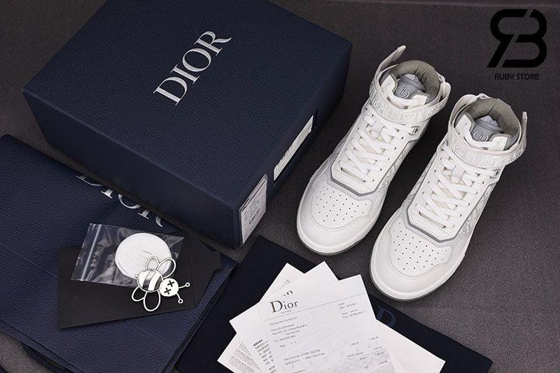 Giày Dior B27 Mid-Top Sneaker White and Grey Siêu Cấp