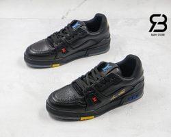 Giày Louis Vuitton Trainer Black Signature Siêu Cấp