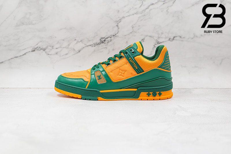 Giày Louis Vuitton Trainer Green Orange Siêu Cấp