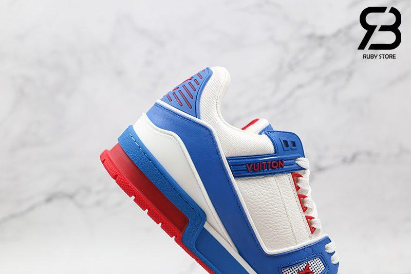 Giày Louis Vuitton Trainer Sneaker Blue Red Siêu Cấp