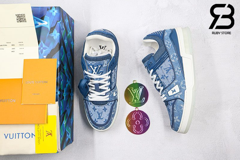 Giày Louis Vuitton Trainer Sneaker Denim Monogram Siêu Cấp