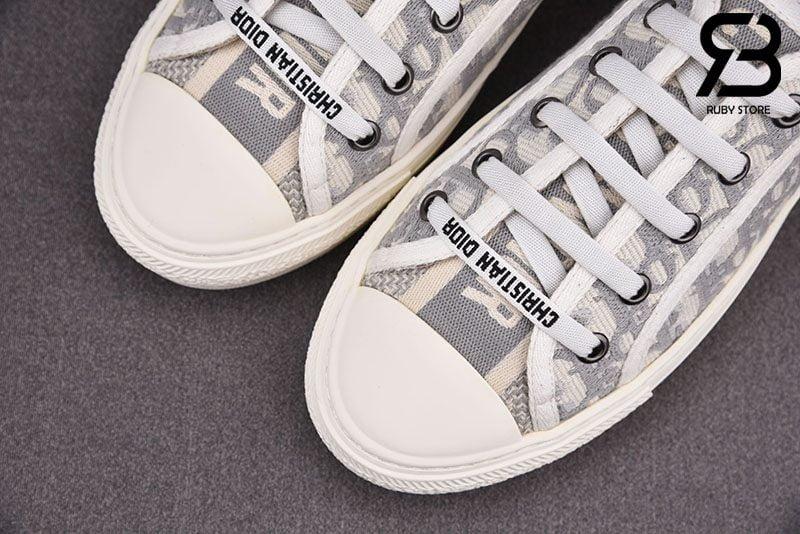Giày Walk'N'Dior Gray Dior Oblique Embroidered Cotton Siêu Cấp