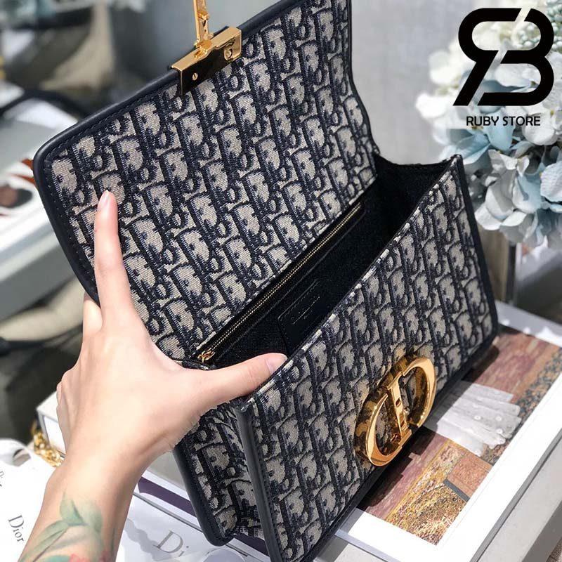 Túi Dior 30 Montaigne Bag Blue Oblique Jacquard 24cm Best Quality