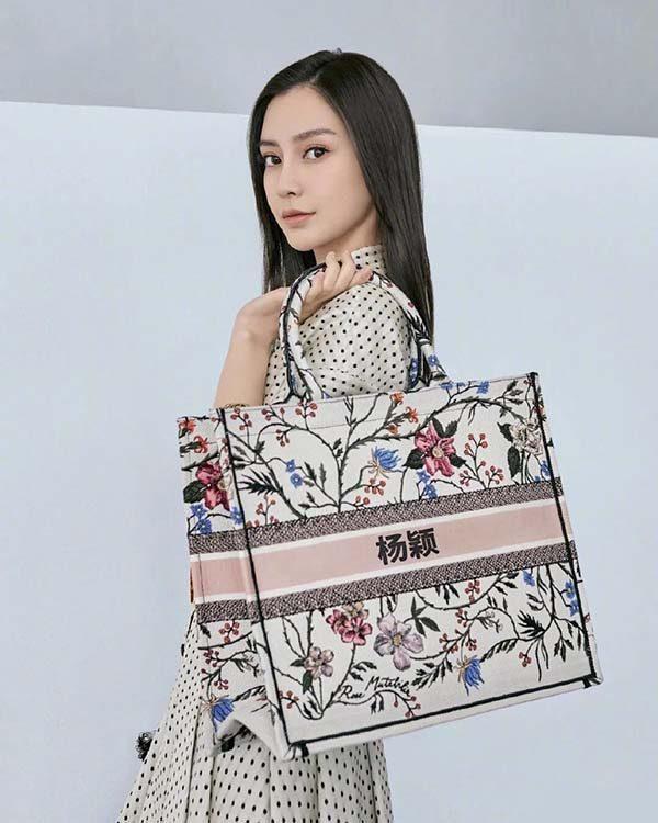Túi Dior Book Tote tùy chỉnh có tên của Angela Baby