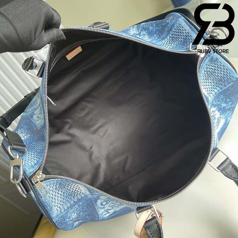 Túi Du Lịch LV Keepall Bandouliere 50 Monogram Blue Best Quality 99% Auth