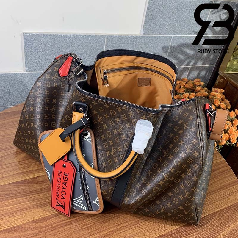 Túi Du Lịch LV Keepall Bandouliere 50 Monogram Brown Best Quality 99% Auth