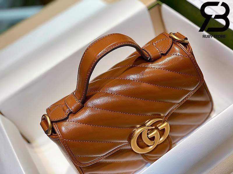 Túi Gucci Marmont mini top handle bag màu nâu best quality