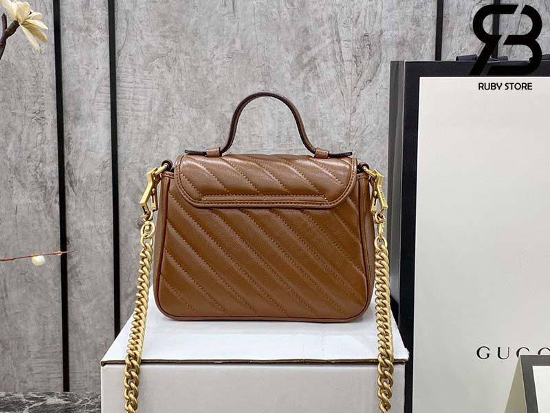 Túi Gucci Marmont mini top handle bag màu nâu nhạt best quality