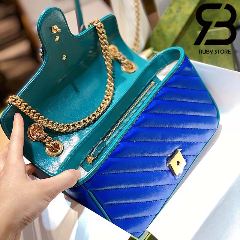 Túi Gucci GG Marmont small shoulder bag xanh best quality