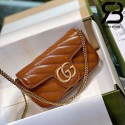Túi Gucci Marmont matelassé super mini bag màu nâu best quality