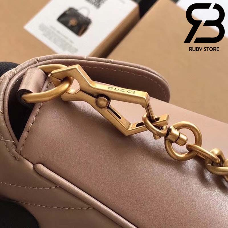 Túi Gucci Marmont small top handle bag hồng best quality