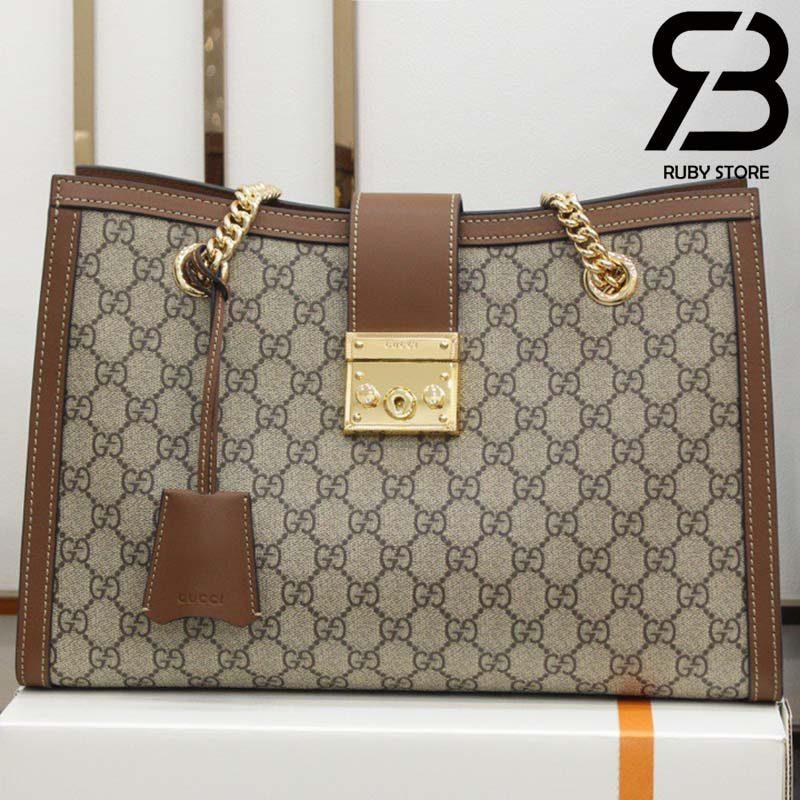 Túi Padlock GG medium shoulder bag nâu best quality
