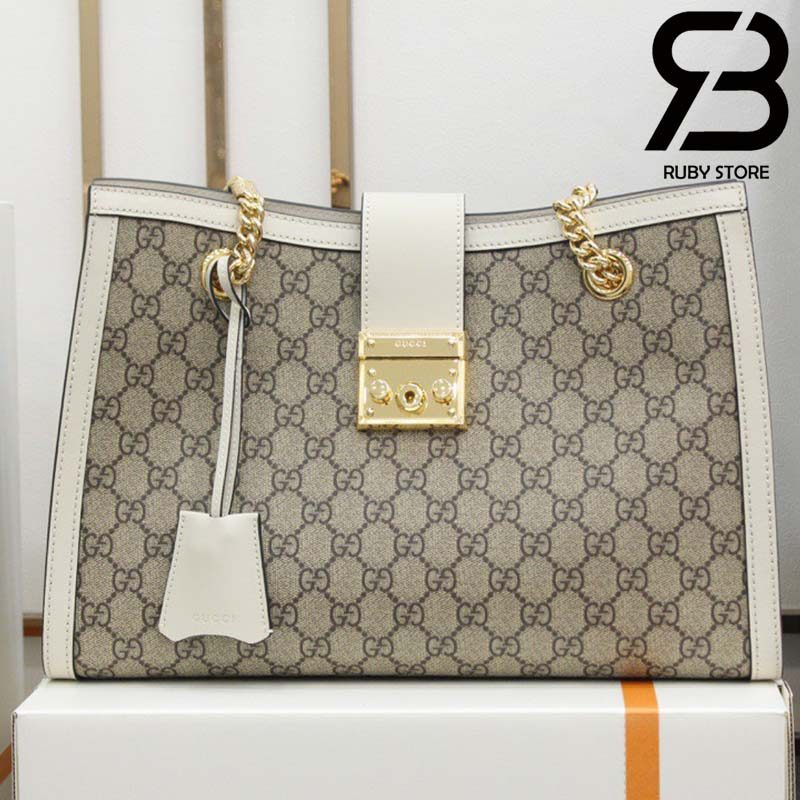 Túi Padlock GG medium shoulder bag trắng best quality
