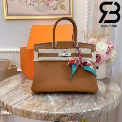 Túi Hermes Birkin Bag 30cm Nâu Khóa Bạc Best Quality 99% Auth