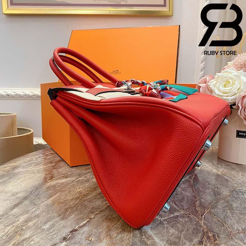 Túi Hermes Birkin Bag 30cm Đỏ Khóa Bạc Best Quality 99% Auth