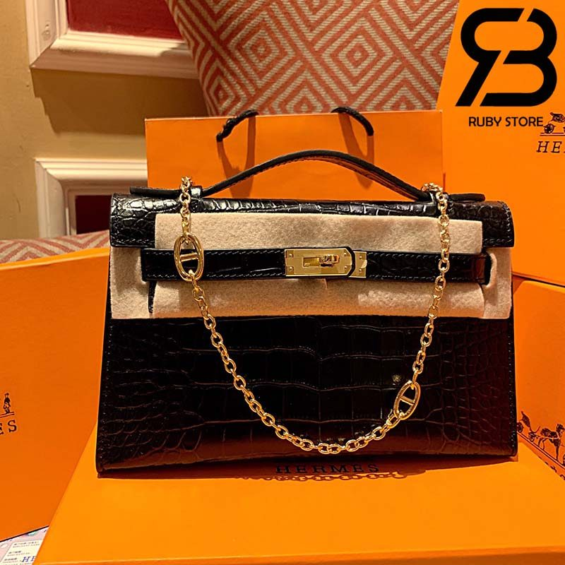 Túi Hermes Kelly Mini Bag Đen Da Bóng 19cm Best Quality 99% Auth