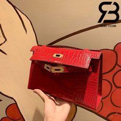 Túi Hermes Kelly Mini Bag Đỏ Da Bóng 19cm Best Quality 99% Auth