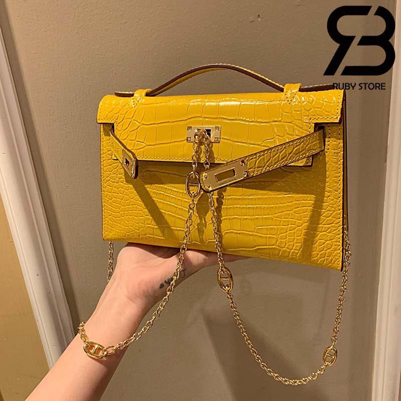 Túi Hermes Kelly Mini Bag Vàng Da Bóng 19cm Best Quality 99% Auth