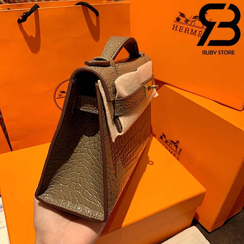 Túi Hermes Kelly Mini Bag Xám Da Bóng 19cm Best Quality 99% Auth