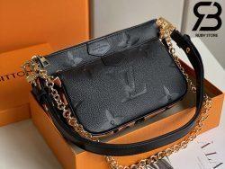 Túi LV Multi Pochette Accessoires Black Embossed Best Quality 99% Auth
