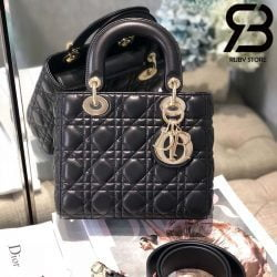 Túi Medium Lady Dior Bag Màu Đen Best Quality 99% Auth