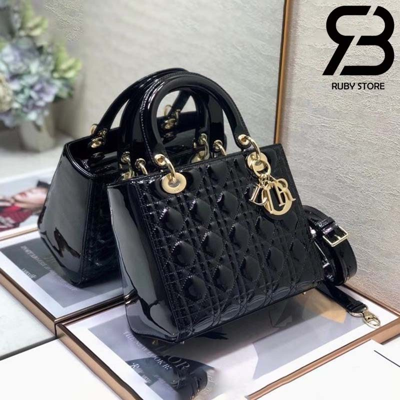 Túi Medium Lady Dior Bag Đen Bóng Best Quality 99% Auth