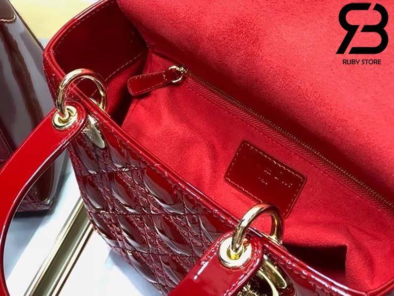 Túi Medium Lady Dior Bag Đỏ Bóng Best Quality 99% Auth