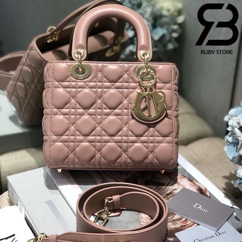 Túi Medium Lady Dior Bag Màu Hồng Best Quality 99% Auth